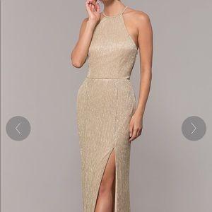High Neck Long Gold Formal Dress - Brand New